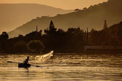 Net Fishing At Sunset Art Print by Dane Strom