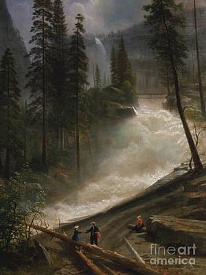 Waterfalls Painting - Nevada Falls, Yosemite by Albert Bierstadt