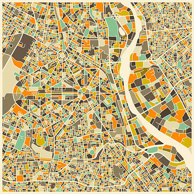 Abstract Map Digital Art - New Delhi Map by Jazzberry Blue