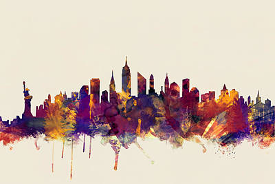 New York Skyline Digital Art - New York City Skyline by Michael Tompsett