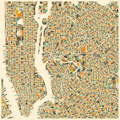Colorful Digital Art - New York Map by Jazzberry Blue