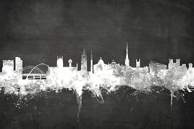 Blackboard Digital Art - Newcastle England Skyline by Michael Tompsett