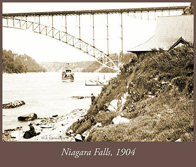 Photograph - Niagara Falls Ferry Boat, Vintage Photograph, 1904 by A Gurmankin