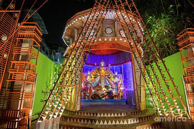 Durga Puja Photograph - Night Image Of Durga Puja Pandal, Kolkata, West Bengal, India by Rudra Narayan Mitra