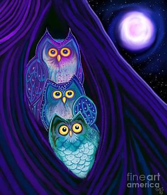 Digital Art - 3 Night Owls by Nick Gustafson