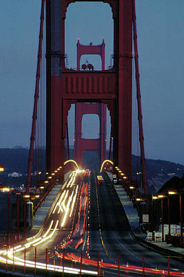 Photograph - Night Traffic On Golden Gate by Carl Purcell