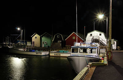 Art Print featuring the photograph Nighttime On The Wharf. by Rob Huntley