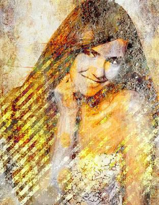 Nina Dobrev Print by Svelby Art