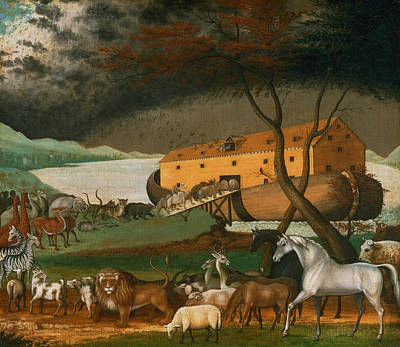 American Folk Art Painting - Noah's Ark  by Edward Hicks