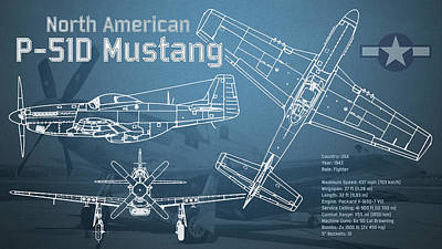 P-51 Digital Art - North American P-51d Mustang Blueprint by Jose Elias - Sofia Pereira