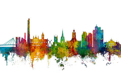 Digital Art - Northampton England Skyline by Michael Tompsett