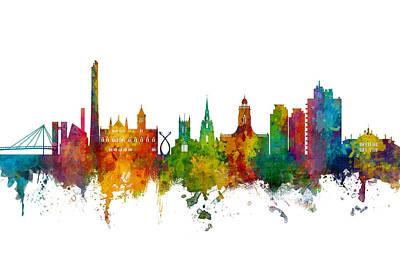 Digital Art - Northampton England Skyline by Michael Tompsett