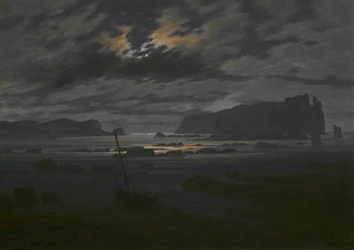 Northern Sea In The Moonlight Art Print