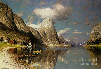 Seascape Painting - Norwegian Fjord Landscape by Celestial Images