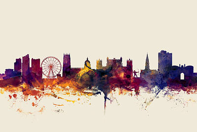 Great Britain Digital Art - Nottingham England Skyline by Michael Tompsett