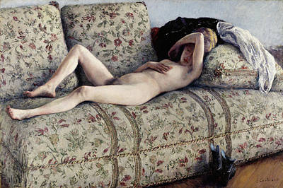 Undressed Painting - Nude On A Couch by Gustave Caillebotte