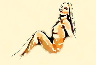 Retro Pinup Painting - Nude Study By Frank Falcon by Frank Falcon