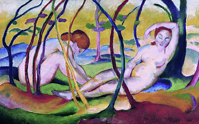 Expressionist Painting - Nudes Under Trees by Franz Marc