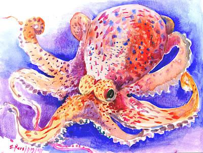 Kids Wall Art Drawing - Octopus by Suren Nersisyan