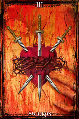 Digital Art - 3 Of Swords by Tammy Wetzel