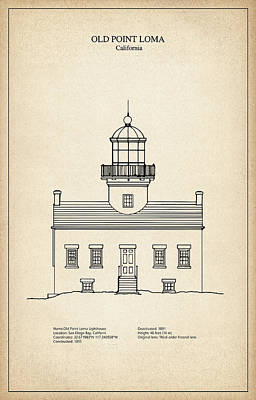 Old Point Loma Lighthouse - California - Blueprint Drawing Art Print by Jose Elias - Sofia Pereira