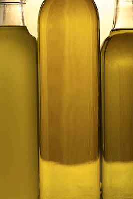 3 Olive Oil Bottles Art Print by Frank Tschakert