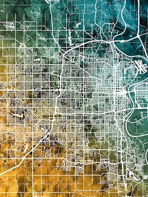 Digital Art - Omaha Nebraska City Map by Michael Tompsett