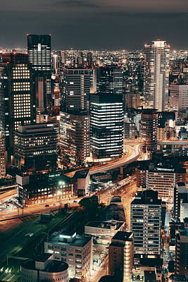 Photograph - Osaka Night Rooftop View by Songquan Deng