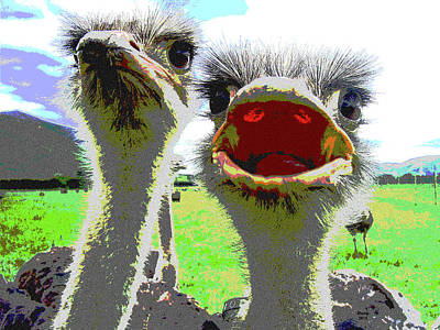 Ostrich Mixed Media - Ostrich Flightless Bird by Charles Shoup