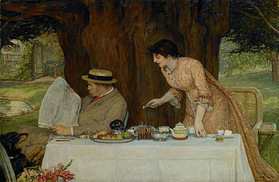 Meal Painting - Our First Tiff by Robert Walker Macbeth