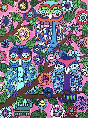 Painting - 3 Owls by Beth Ann Scott
