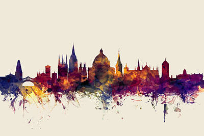 Oxford Digital Art - Oxford England Skyline by Michael Tompsett