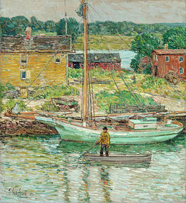 Painting - Oyster Sloop, Cos Cob by Childe Hassam