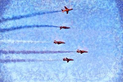 Painting - Painting Of Red Arrows Aerobatic Team by George Atsametakis