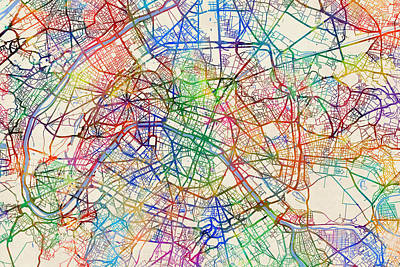 Paris Digital Art - Paris France Street Map by Michael Tompsett