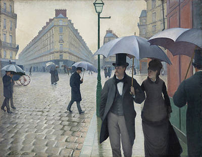 European Street Scene Painting - Paris Street, Rainy Day by Gustave Caillebotte