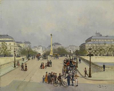 Parisian Street Scene Art Print by Eugene Galien Laloue