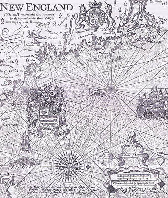 Drawing - Part Of Captain J Smith's Map Of New England by American School