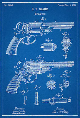 Handgun Digital Art - Patent Drawing For The 1860 Revolver By E. T. Starr Used By The Union In The American Civil War by Jose Elias - Sofia Pereira