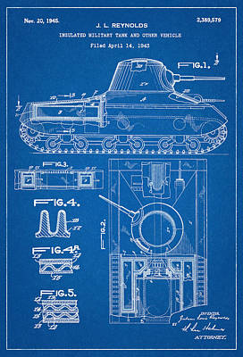Gun Photograph - Patent Drawing For The 1943 Insulated Military Tank And Other Vehicle By J. L. Reynolds by Jose Elias - Sofia Pereira