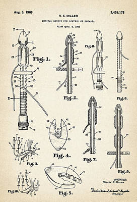 Drawing Digital Art - Patent Drawing For The 1966 Medical Device For Control Of Enemata By R. E. Miller by Jose Elias - Sofia Pereira