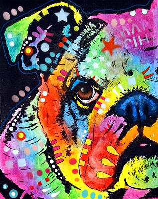 Pitty Painting - Peeking Bulldog by Dean Russo