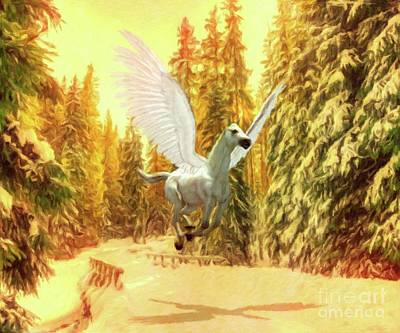 Pegasus Painting - Pegasus Comes by Mary Bassett