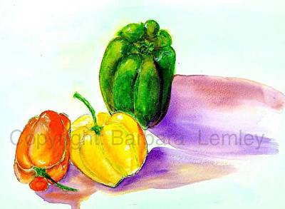 Painting - 3 Peppers by Barbara Lemley