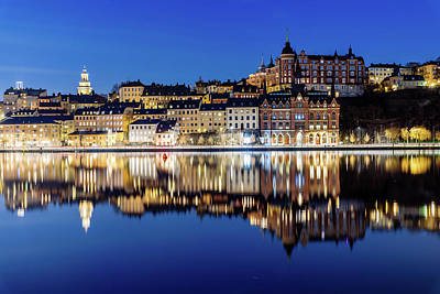 Photograph - Perfect Sodermalm And Mariaberget Blue Hour Reflection by Dejan Kostic