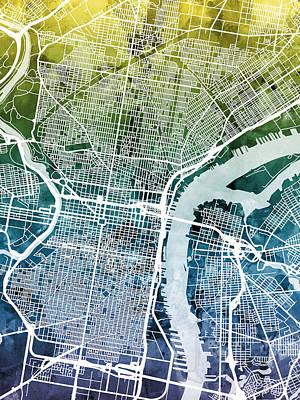 Philadelphia Pennsylvania City Street Map Art Print by Michael Tompsett