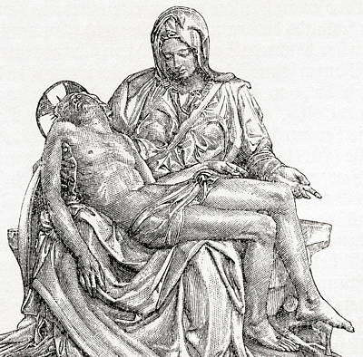 Body Of Christ Drawing - Pieta by Michelangelo
