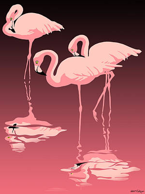 3 Pink Flamingos Art Print by Walt Curlee