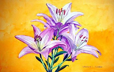 3 Pink Lilies Art Print by Dennis Clark