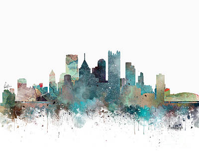 Painting - Pittsburgh Pennsylvania Skyline  by Bleu Bri